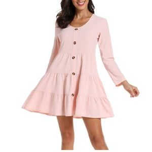 Button Front Dress Long Sleeve V-Neck Casual